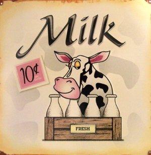 TIN SIGN - Milk - Cow
