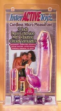 2 inch Penis Extension with Vibrating  Clitoral Stimulator