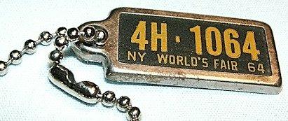 1964 NY New York World's Fair License Tag Keychain DAV