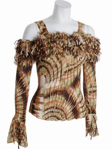 Womens long sleeved ruffle tank shirt - original & sexy-Plus size