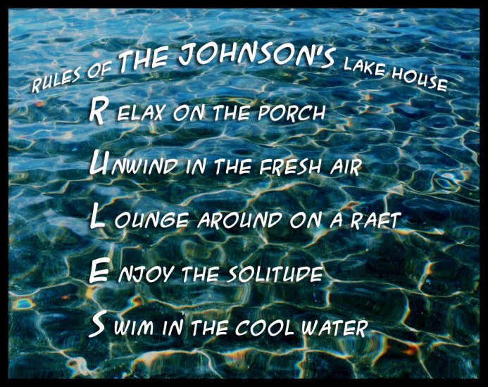 Rules of the Lake - Personalized
