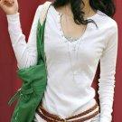 D021 Cotton u-collar shirt