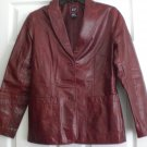 GAP WOMENS DESIGNER RED FITTED LEATHER JACKET SIZE S