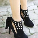Studs Ribbon Ankle Boots