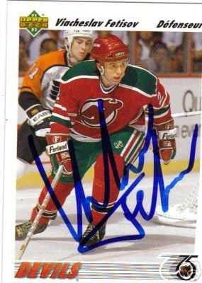 ~Viacheslav Fetisov Autographed Hockey Card NJ Devils~