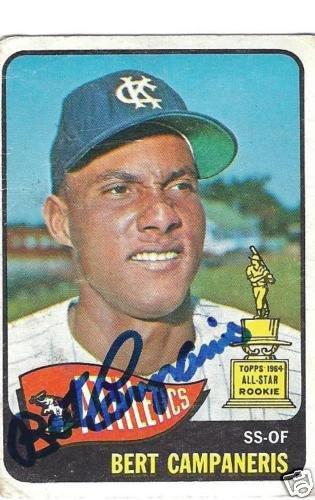 ~Bert Campaneris Autographed MLB Baseball Card KC A's~