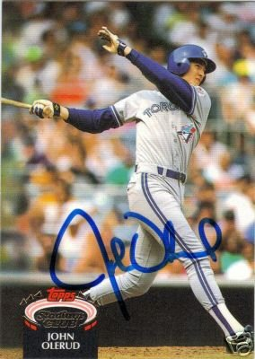 ~John Olerud MLB Autographed Baseball Card Blue Jays~