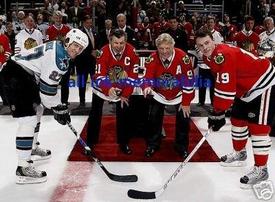 ~Hull Mikita Roenick Toews Hawks NHL Colour 8x10 Photo~