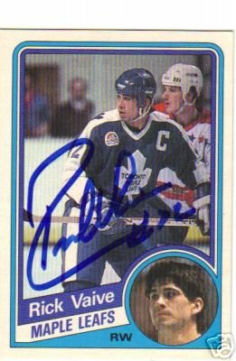 ~Rick Vaive Autographed Hockey Card NHL Maple Leafs~