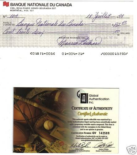 Maurice Richard Rare Autographed Hand Signed Cheque GAI
