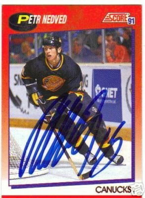 ~Peter Nedved Autographed Hockey Card NHL Canucks~