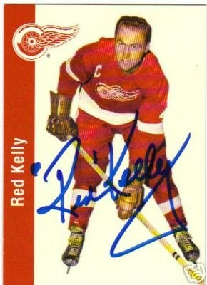 ~Red Kelly Autographed Hockey Card HOF Red Wings~