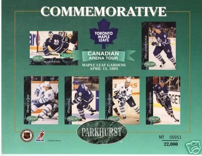 ~Parkhurst 1993 Toronto Maple Leafs Rare Ltd Ed Sheet~