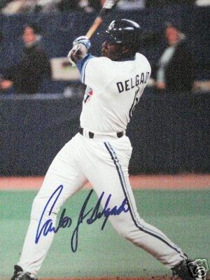 ~Carlos Delgado Autographed 11x14 Photo Blue Jays~