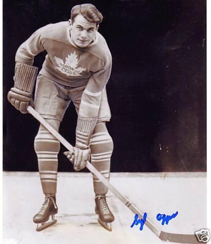 ~Syl Apps RARE Autographed Hockey 8x10 Photo HOF Leafs~