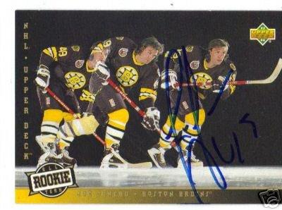 ~Joe Juneau Autographed Hockey Card NHL Boston Bruins~