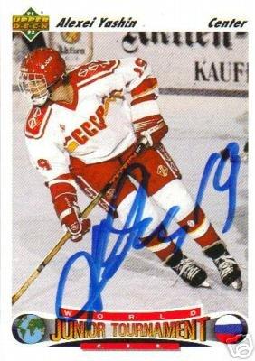 ~Alexei Yashin Autographed Hockey RC 91/92 UD CCCP~