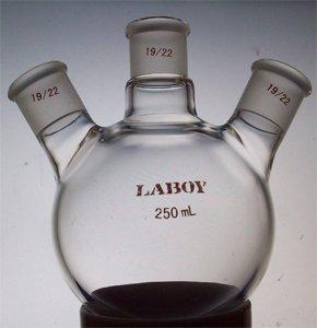 Round bottom flask,three necks,angled,19/22 joints,250ml