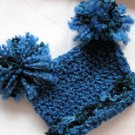PORTRAIT INFANT BABY SACK HAT WITH POM POMS IN MONTANA SKY - 0-3 MONTHS