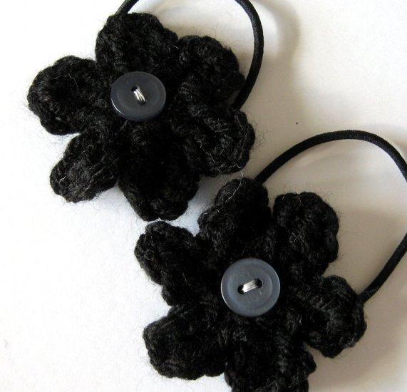CROCHET FLOWER PONYTAIL HOLDERS - SET OF TWO IN LITTLE MIDNIGHT BLACK