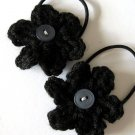 CROCHET FLOWER PONYTAIL HOLDERS - SET OF TWO IN LITTLE MIDNIGHT BLACK