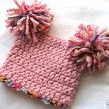 PORTRAIT INFANT BABY SACK HAT WITH POM POMS IN BLOSSOM