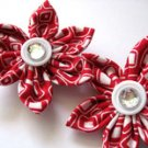 MINI FABRIC FLOWER HAIR CLIPS - SET OF TWO IN CHERRY BOMB BLING