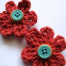 MILLEFIORE CROCHET FLOWER HAIR CLIPS - SET OF TWO IN LITTLE TERRA COTTA