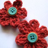 MILLEFIORE CROCHET FLOWER HAIR CLIPS - SET OF TWO IN LITTLE TERRA COTTA