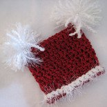 CHRISTMAS INFANT BABY SACK HAT WITH POM POMS - NEWBORN 0-3 MONTHS - GREAT PHOTO PROP!