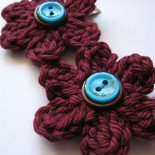 MILLEFIORE CROCHET FLOWER HAIR CLIPS - SET OF 2 IN LITTLE MULBERRY