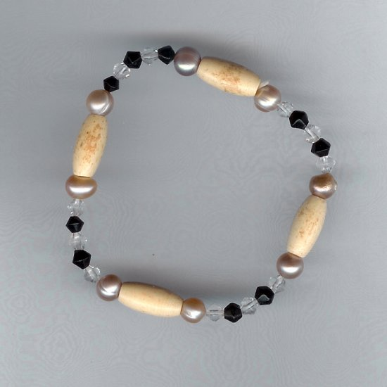 Lavender Freshwater Pearl, Black, Crystal, Carved Bone Accent Beads Stretch Bracelet