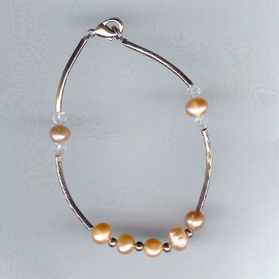 Natural Freshwater Pink Pearl, Crystal Beads, Long Silver-Tone Bead Bracelet
