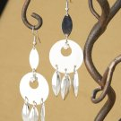 Silver Circle & Feather Crystal Rhinestone, Dangle Fashion Earrings