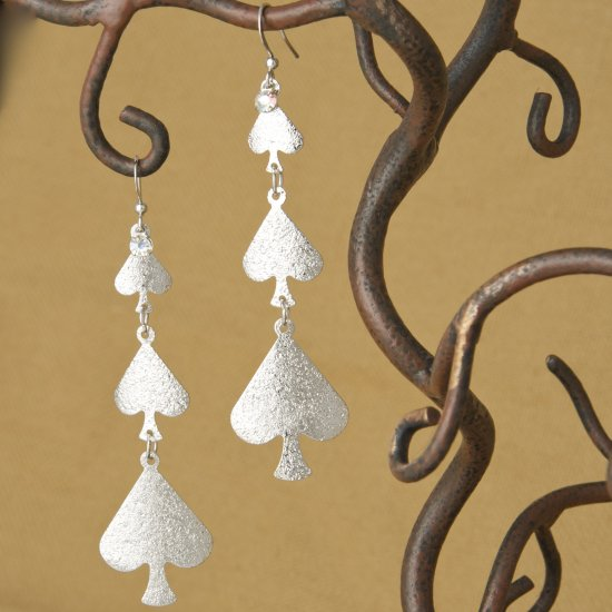 Hammered Spades Dangle Earrings