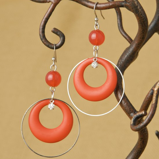 Hoops and Bead Fashion Earrings - Red
