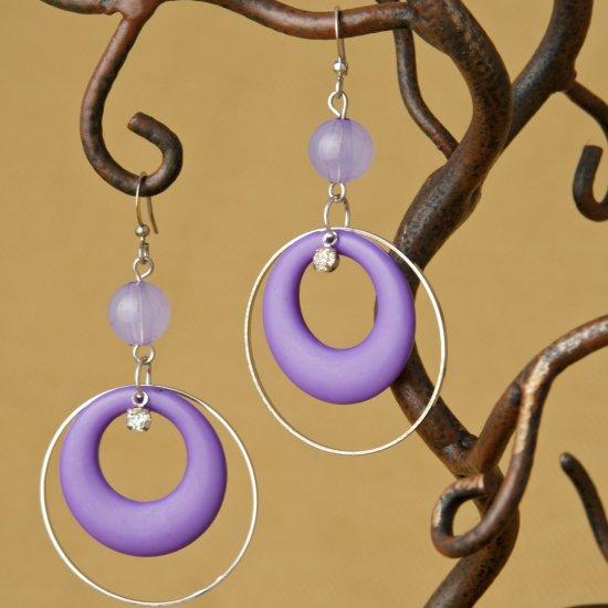 Hoops and Bead Fashion Earrings - Purple