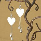 Silver Textured Heart & Ball Dangle Earrings