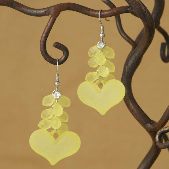 Rhinestone and Lemon Yellow Heart Cluster Dangle Fashion Earrings