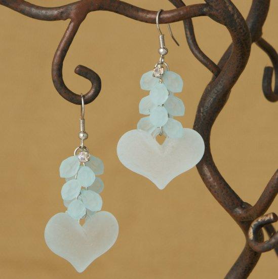 Ice Blue Rhinestone and Lemon Heart Cluster Dangle Fashion Earrings