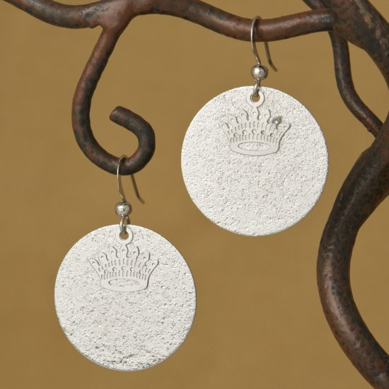 Silver Textured Circle & Crown Earring
