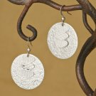 Silver Textured Hammered Circle & Triple Heart Dangle Earrings