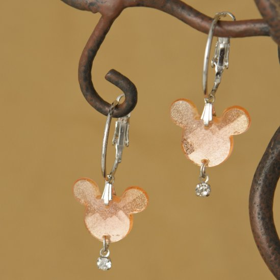 Peach Faceted Mouse Head Dangle Hoop Earrings
