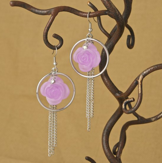 Centered Rose, Silver hoop, Chain Dangling Fashion Earrings
