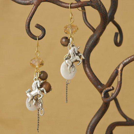 Unicorn, wood bead Earrings