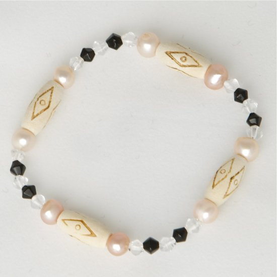 Pink Freshwater Pearl, Black, Crystal, Carved Bone Accent Beads Stretch Bracelet