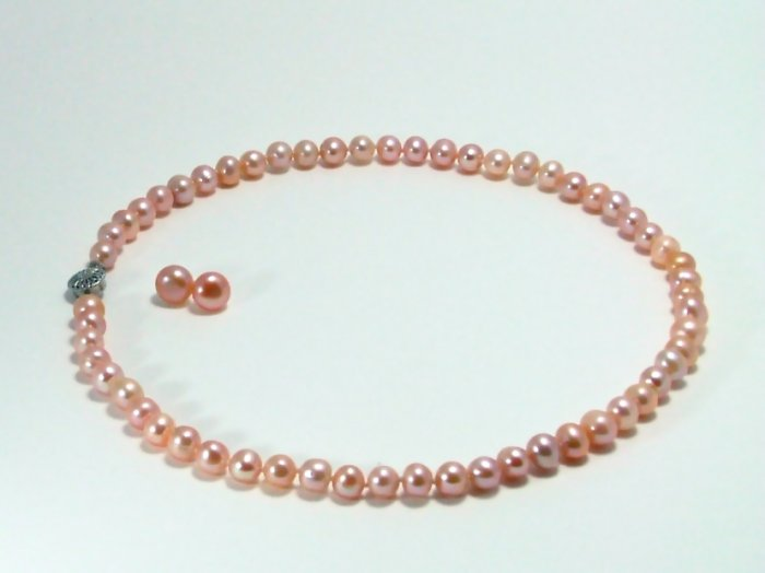 Pink Natural Freshwater Pearl 7mm Necklace & 9mm Earring Set, List $210