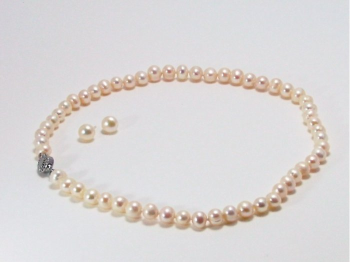 White Natural Freshwater Pearl 7mm Necklace & 8mm Earring Set, List $190