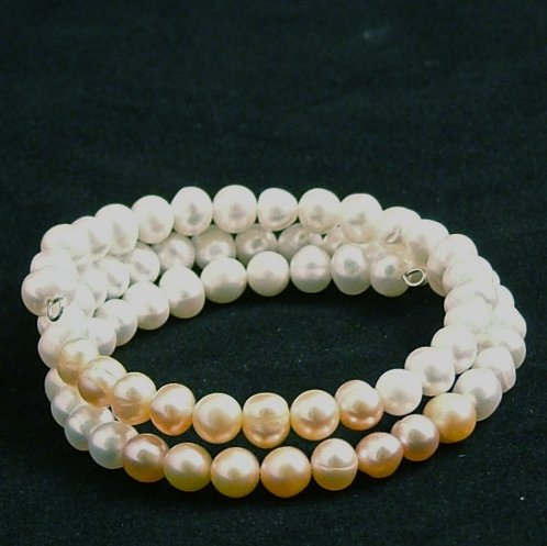 Pink and White Freshwater Pearl Wire Bracelet