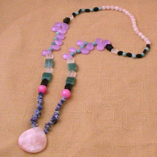 Rose Teardrop, Jade & Lapis Bohemian Style Gemstone Necklace